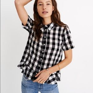 Madewell Peplum Plaid Button Down Blouse Sz Small
